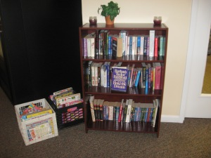 Browse our bookcase. Take a book or leave a book.
